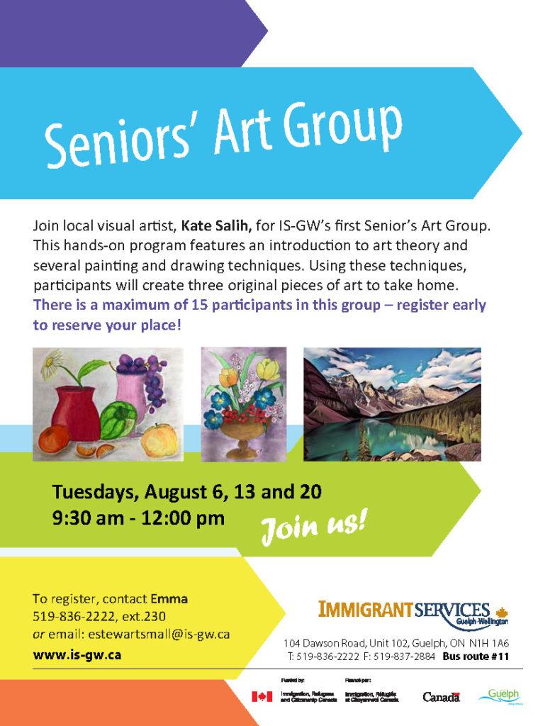 Poster for Seniors Art Group at ISGW